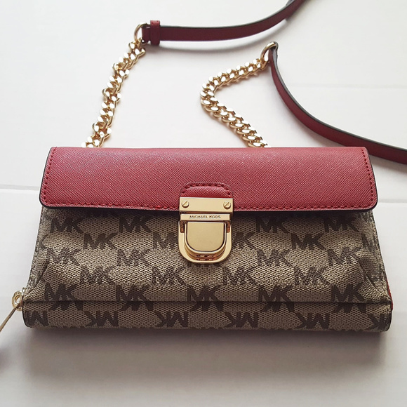 188b959d88d10 Michael MK Kors Bridgette Scarlet Wallet On Chain